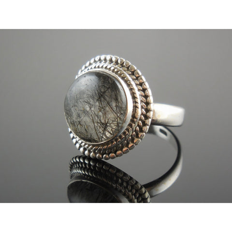 Rutilated Quartz Sterling Silver Ring - Size 7