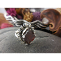 Garnet Rough Sterling Silver Ring - Size 6.25