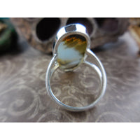 Dendritic Agate Sterling Silver Ring - Size 7.0