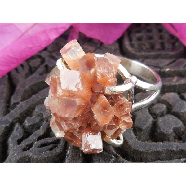 Aragonite Crystal Cluster Sterling Silver Ring - Size 9
