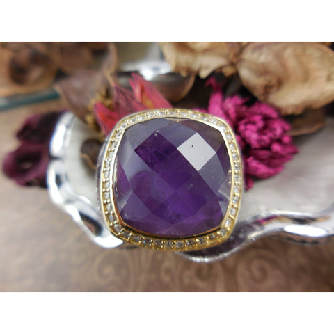 Chunky Amethyst & White Topaz Gemstone Ring - Size 6.25 - Unique!