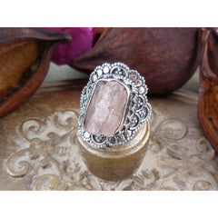 Morganite (Rough) Sterling Silver Ring - Size 6.0