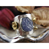 Tanzanite Rough Gemstone Sterling Silver & Brass Ring - Size 7