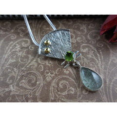Rutile Quartz and Peridot Gemstone Sterling Silver & Brass Pendant