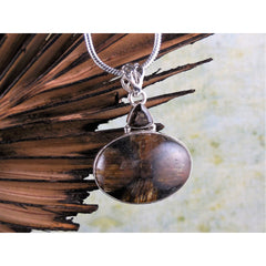 Chiastolite & Smoky Topaz Sterling Silver Pendant/Necklace