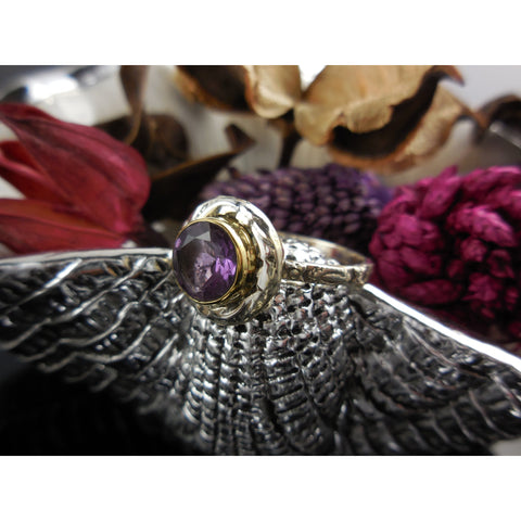 Amethyst Gemstone Sterling Silver & Brass Ring - Size 8.75
