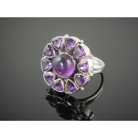 Amethyst Sterling Silver Flower Ring - Size 8.25