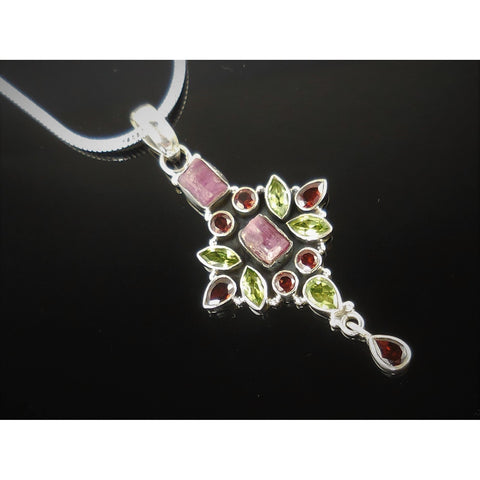 Tourmaline (Rough), Peridot, & Garnet Sterling Silver Cross Pendant/Necklace
