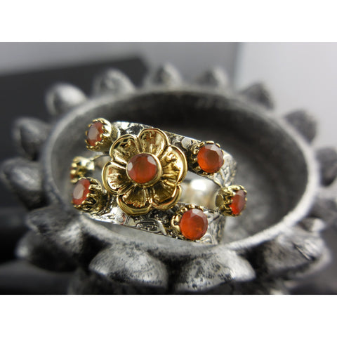 Carnelian Gemstone Sterling Silver Ring - Size 8