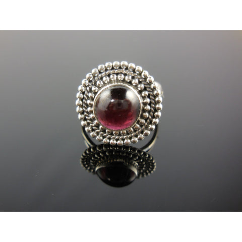 Garnet Gemstone Sterling Silver Ring - Size 6.25