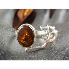Fire Agate Sterling Silver Ohm Ring - Size 8.5