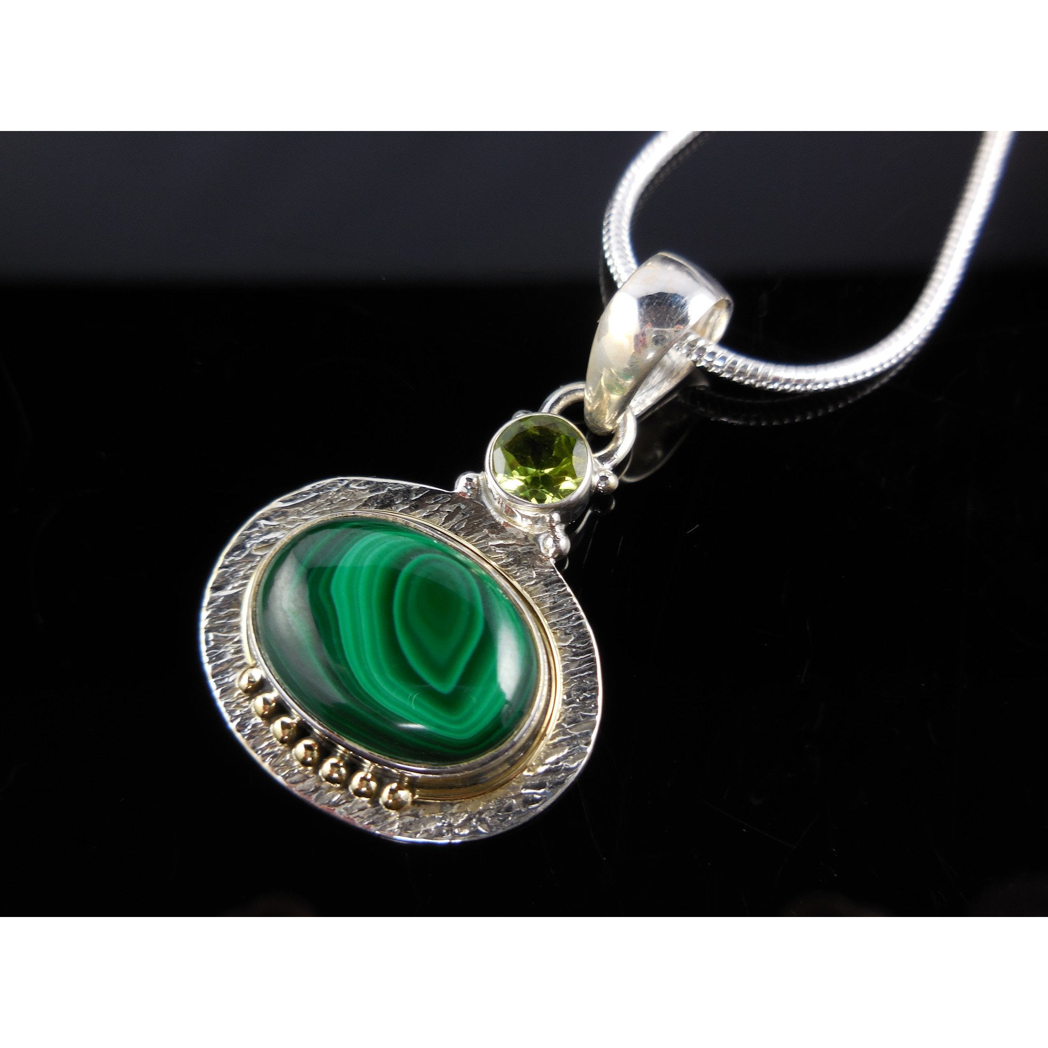 Malachite & Peridot Gemstone Sterling Silver & Brass Pendant