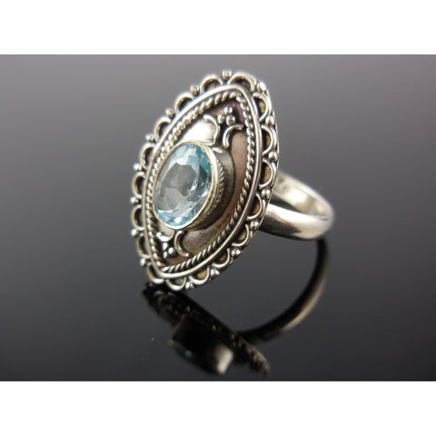 Blue Topaz Sterling Silver Ring - Size 7.50