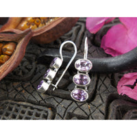Amethyst 3-Stone Sterling Silver Earrings