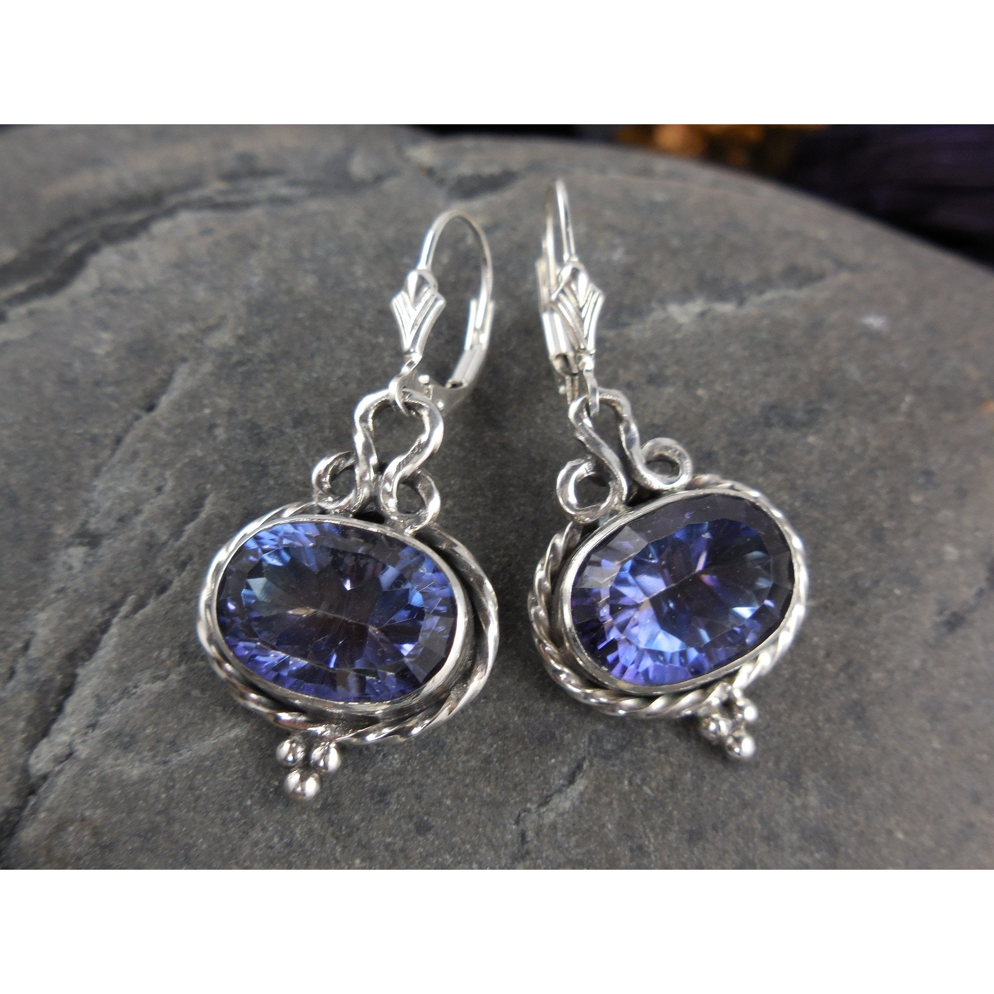 Mystic Blue Quartz Gemstone Sterling Silver Earrings