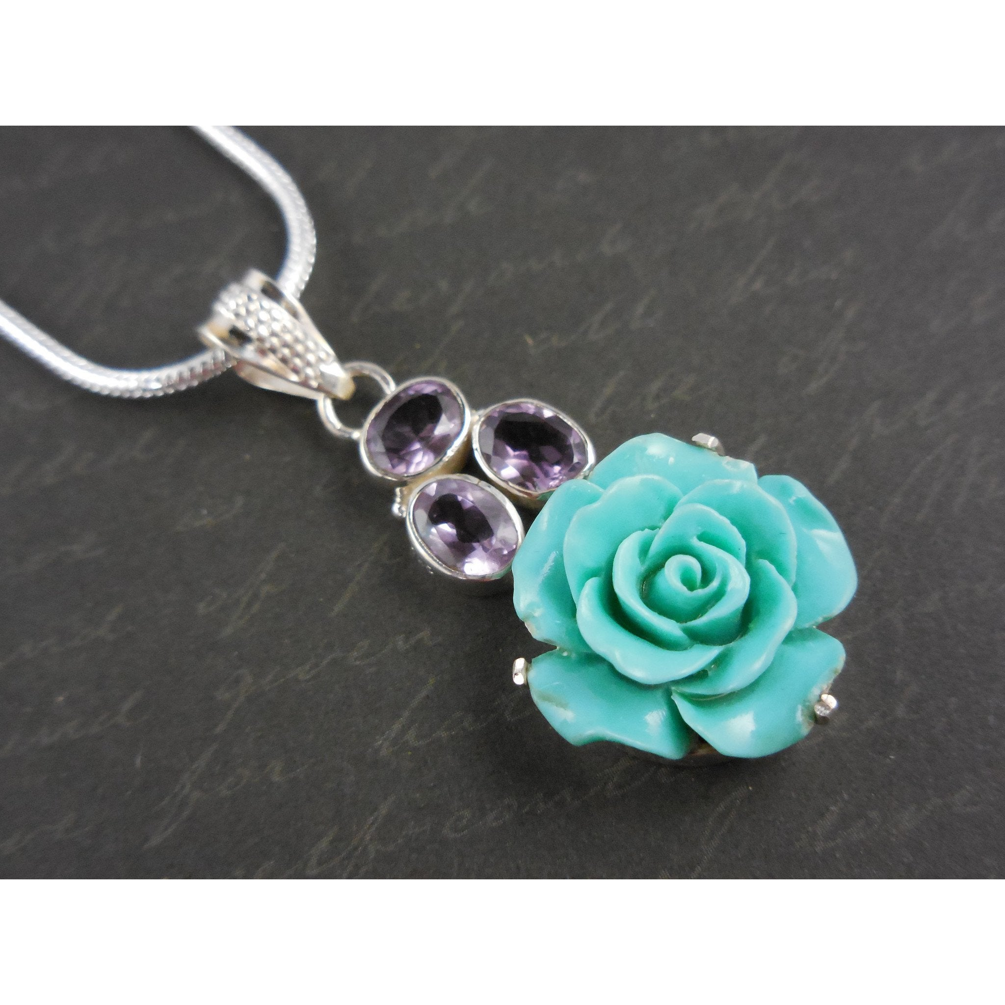 Amethyst Gemstone & Ceramic Floral Sterling Silver Necklace