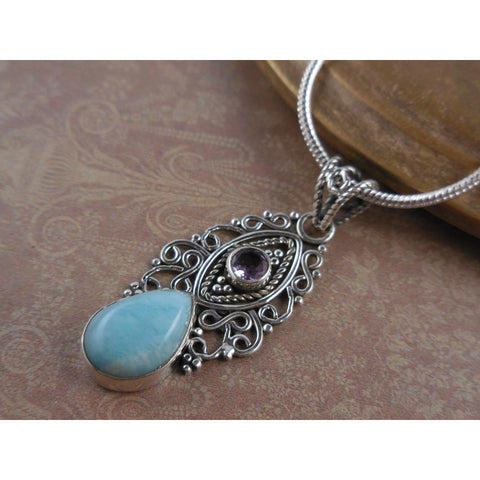 Larimar & Amethyst Gemstone Sterling Silver Necklace