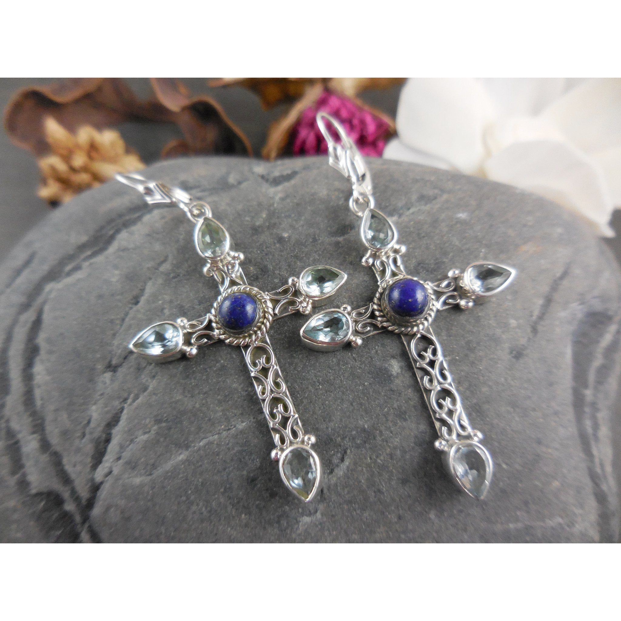 Blue Topaz and Lapis Sterling Silver Cross Earrings