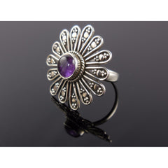 Amethyst Flower Sterling Silver Ring - Size 7