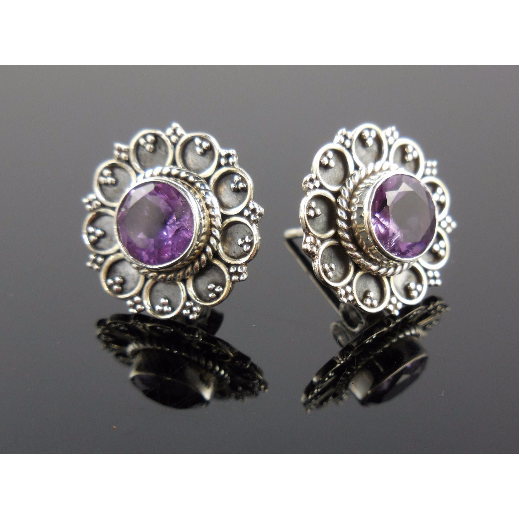 Amethyst Gemstone Sterling Silver Post Earrings