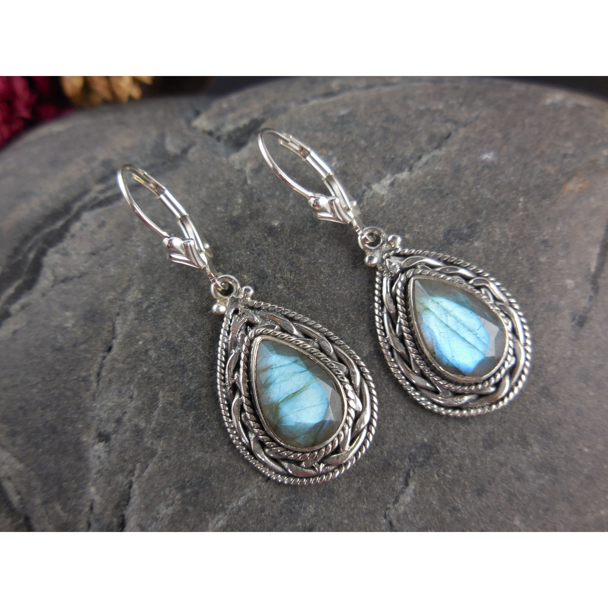 Labradorite Gemstone Sterling Silver Earrings