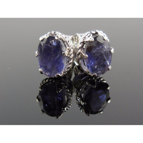 Iolite Gemstone Sterling Silver Post Earrings