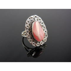 Natural Rhodochrosite Sterling Silver Ring - Size 8.5
