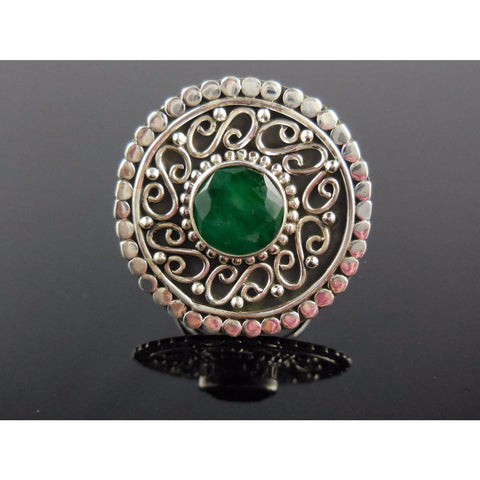 Emerald Sterling Silver Ring - Size 6.75