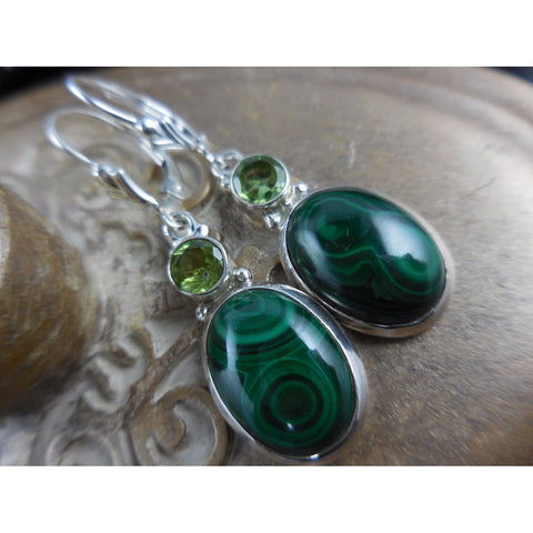 Malachite & Peridot Sterling Silver Earrings