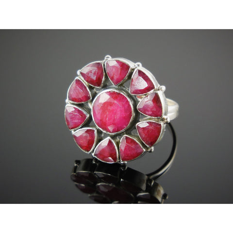 Ruby Sterling Silver Floral Ring - Size 9