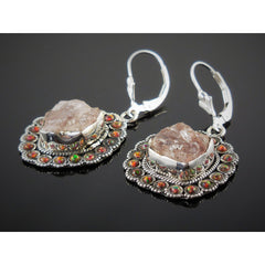 Morganite (Rough) & Fire Opal (Lab) Sterling Silver Earrings