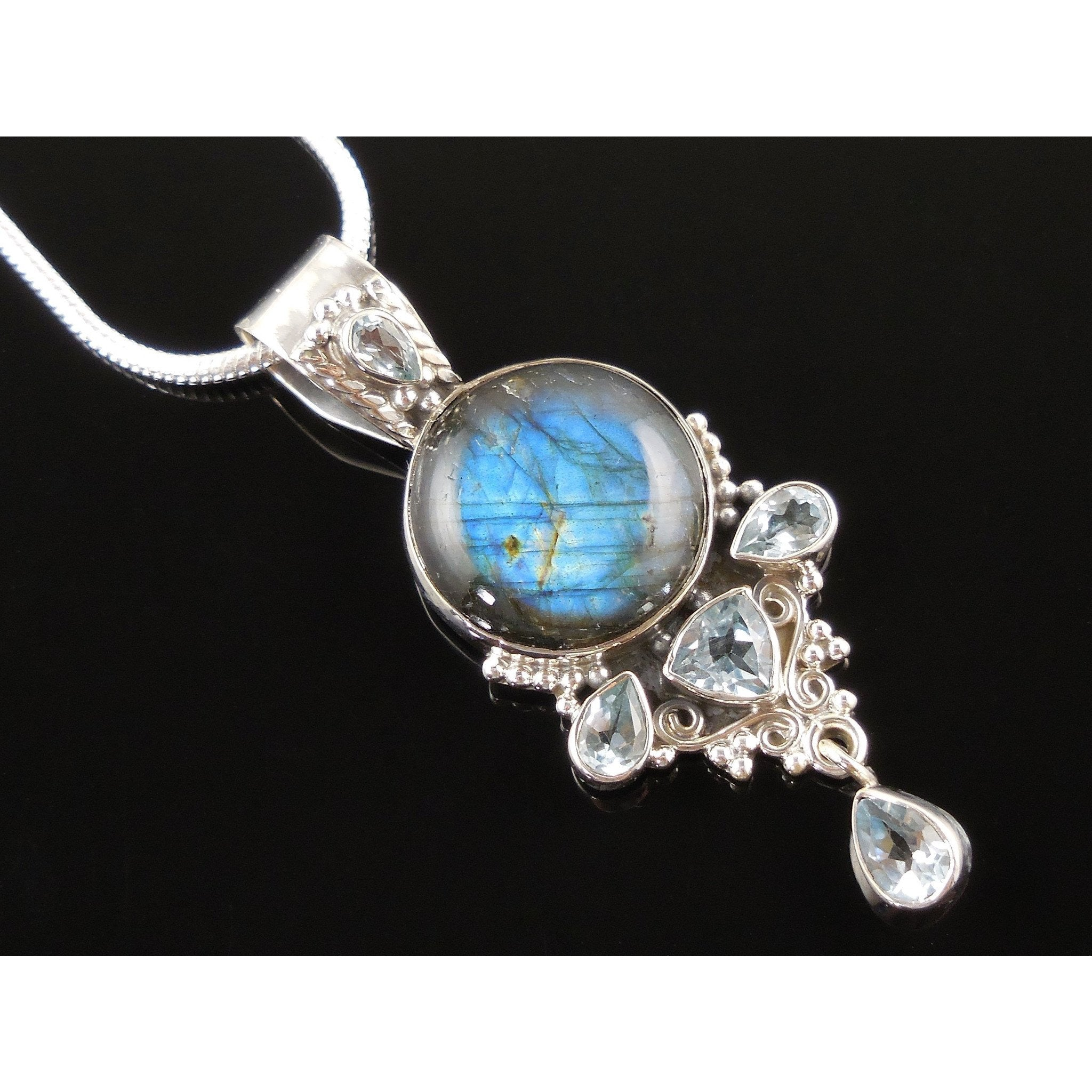 Labradorite & Blue Topaz Sterling Silver Pendant/Necklace