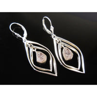 Morganite Rough Sterling Silver Earrings