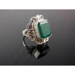 Green Agate Sterling Silver Ring - Size 7.00