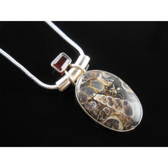 Turtella Jasper & Garnet Sterling Silver Pendant/Necklace