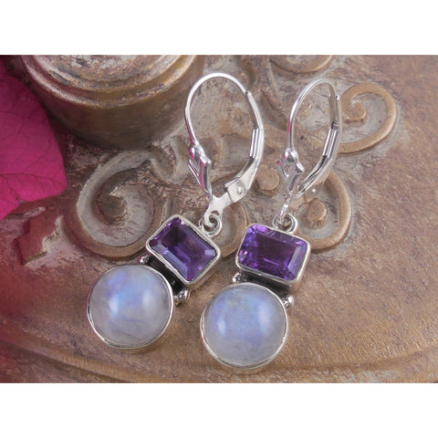 Amethyst & Moonstone Sterling Silver Earrings
