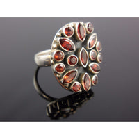 Garnet Gemstone Sterling Silver Ring - Size 6.5
