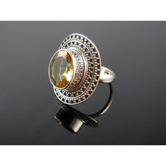 Citrine Quartz Sterling Silver Ring - Size 7