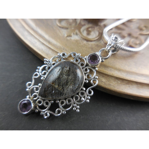 Rutilated and Amethyst Quartz Sterling Silver Necklace