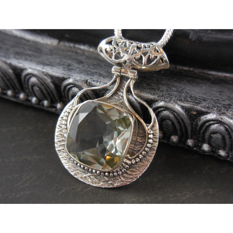 Green Amethyst Quartz Sterling Silver Necklace