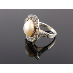 Pearl & CZ Sterling Silver Ring - Size 7.25