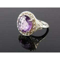 Amethyst Quartz Gemstone Sterling Silver Ring - Size 7.75
