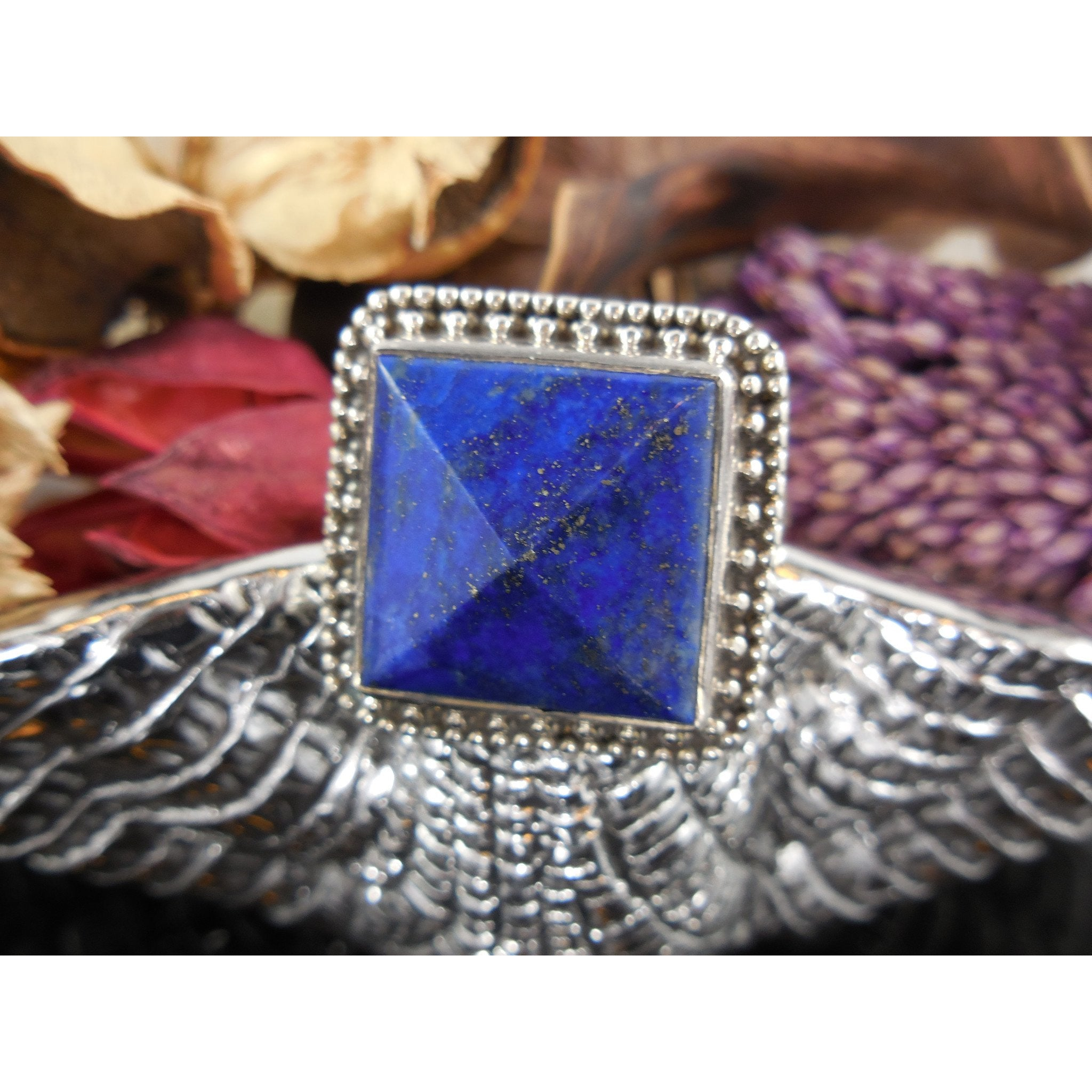 Lapis Gemstone Pyramid Sterling Silver Ring - Size 7.5