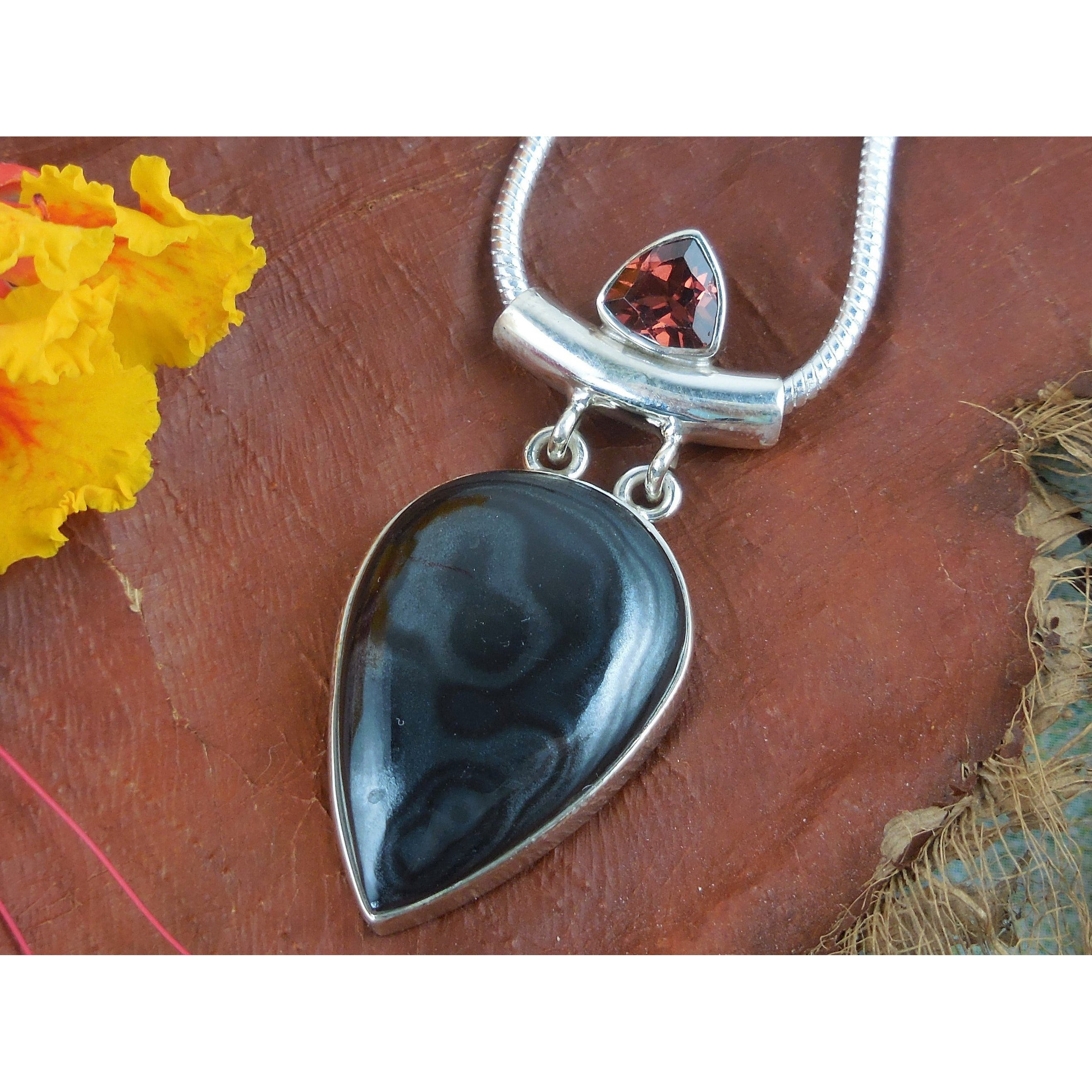 Onyx & Garnet Sterling Silver Pendant/Necklace