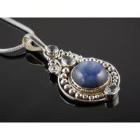 Kyanite & Blue Topaz Sterling Silver Pendant/Necklace