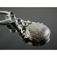 Stingray Coral & Onyx & Smoky Topaz .925 Pendant/Necklace