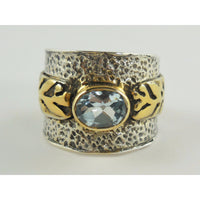 Blue Topaz Sterling Silver & Brass Ring – Size 9.25