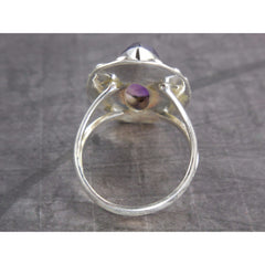 Amethyst Gemstone Sterling Silver Ring - Size 8.25