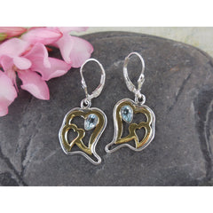 Blue Topaz Sterling Silver Heart Earrings