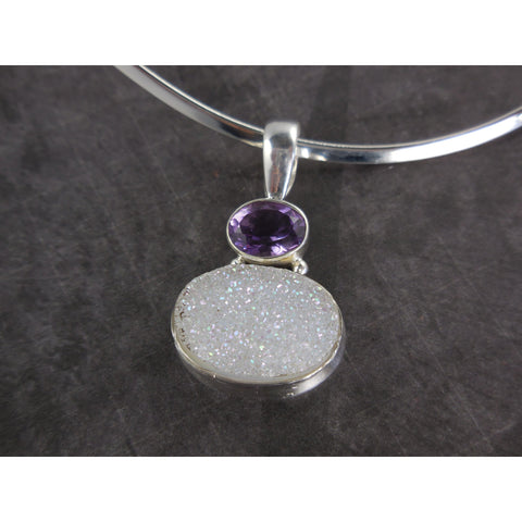 Amethyst Quartz & Titanium Druzy Sterling Silver Necklace